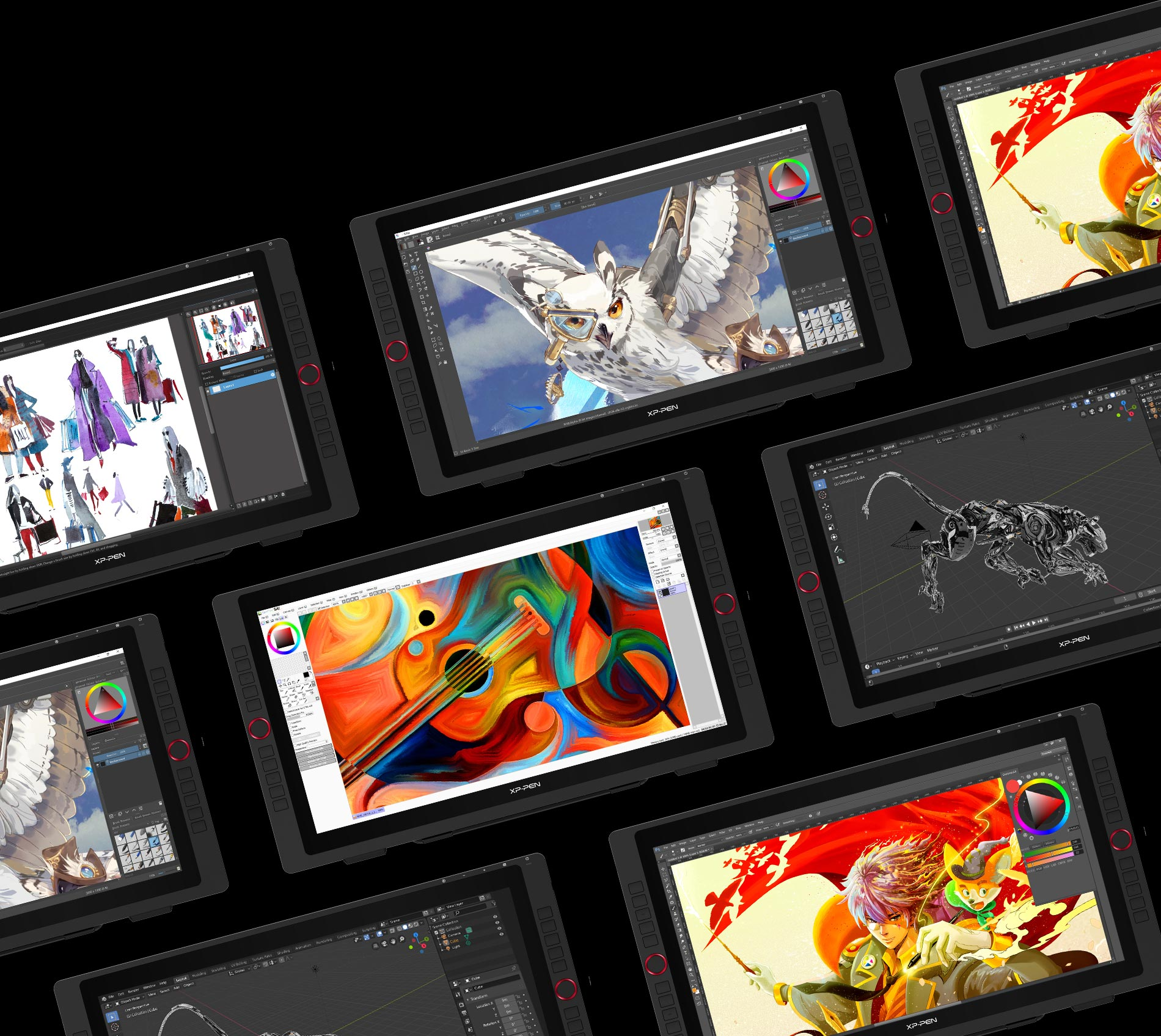 XP-Pen Artist 22R Pro Supports Windows and Mac OS , Compatible with popular digital art software